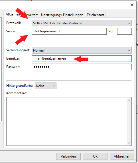 FileZilla Datentransfer